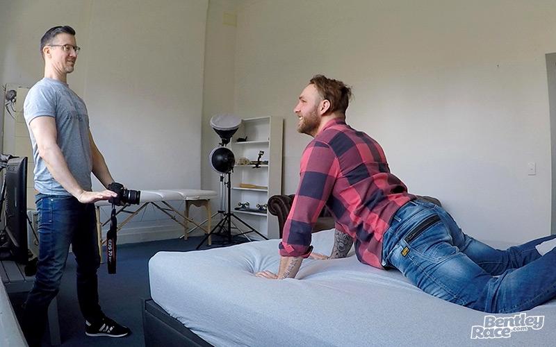 Aussie boy Hunter Jones stripping naked in the Bentley Race porn studio